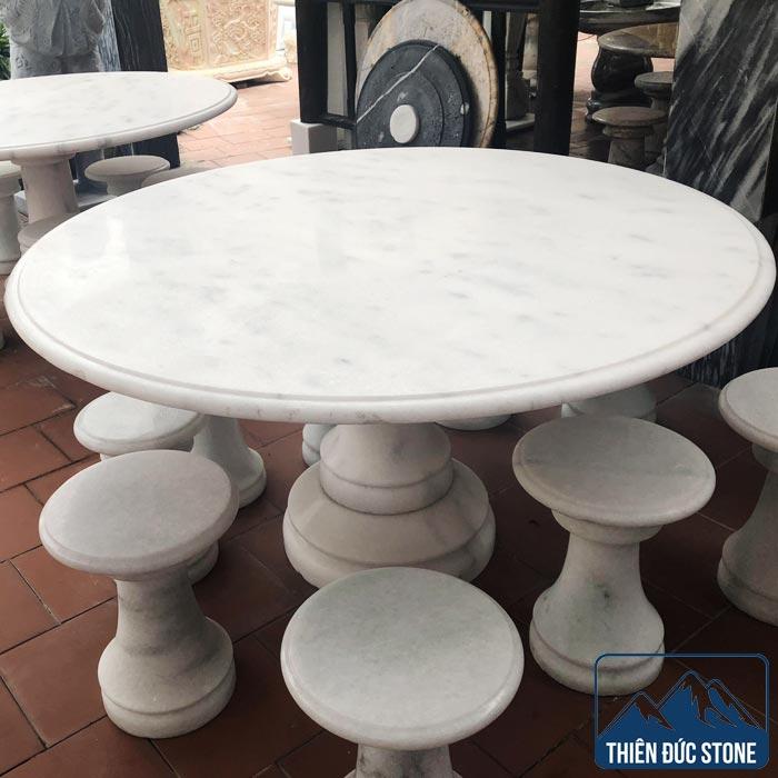 Bộ bàn ghế đá tròn | Bàn ghế đá ngọc Serpentine