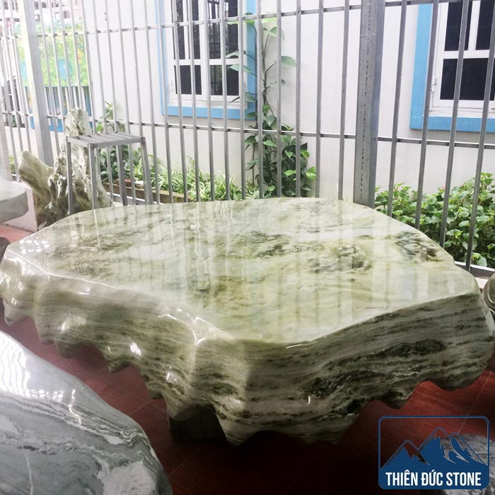 Bộ bàn ghế đá tự nhiên nguyên khối | Bàn ghế đá ngọc Serpentine