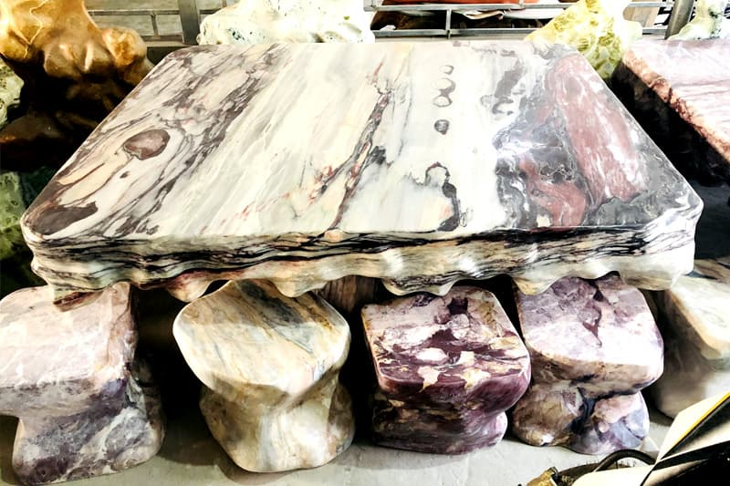 Bộ bàn ghế đá tự nhiên nguyên khối | Thiên Đức Stone