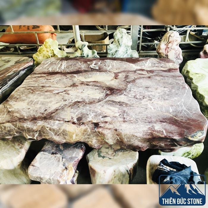 Bộ bàn ghế đá thổ cẩm | Thiên Đức Stone
